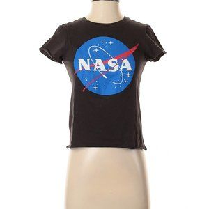 Freeze 'NASA' Raw Edge Hem Crop Graphic Tee